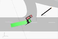 Overhead animation of collision with a left-turning truck -click to start